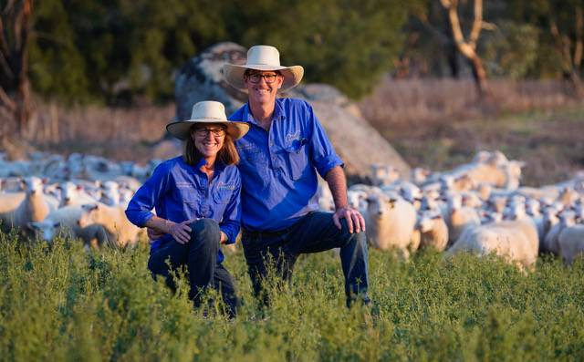 Vanessa and Leo Herbert will soon put their first consignment of lambs through Gundagai Meat Processor's new lamb grid.